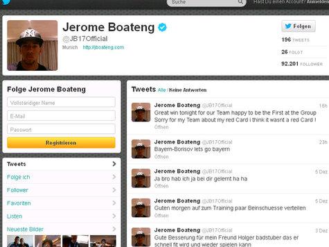 博阿滕就自己吃红牌一事在推特上道歉